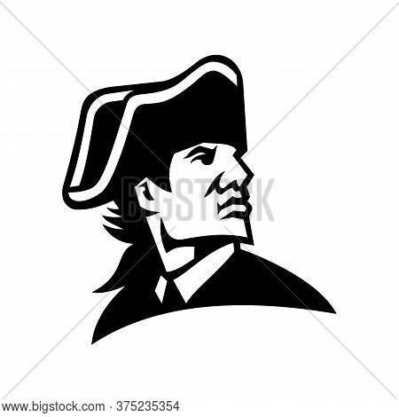 Black And White Mascot Illustration Of Head Of An American Revolution Military Commander Or General