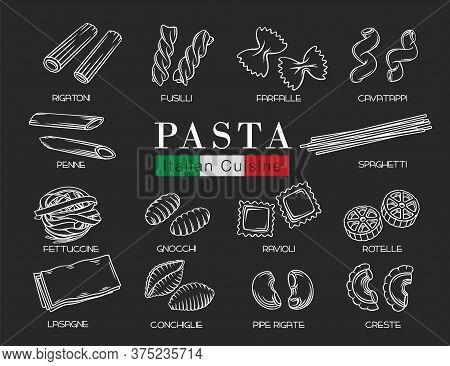Types Italian Pasta Or Macaroni, Outline Vector Illustration. Italian Food Of Ravioli, Gnocchi, Fett