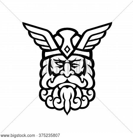 Mascot Illustration Of Head Of  Odin, Also Called Wodan, Woden, Or Wotan, One Of The Principal Gods