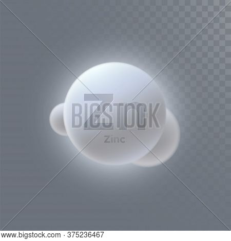 Zinc Mineral Icon Isolated On Transparent Background. Vector 3d Illustration. Diet Supplement. Medic