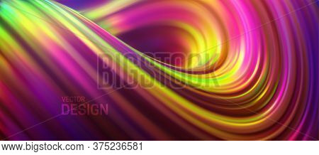 Iridescent Curly Stream. Liquid Flowing Striped Shape. Vector 3d Illustration. Abstract Colorful Bac