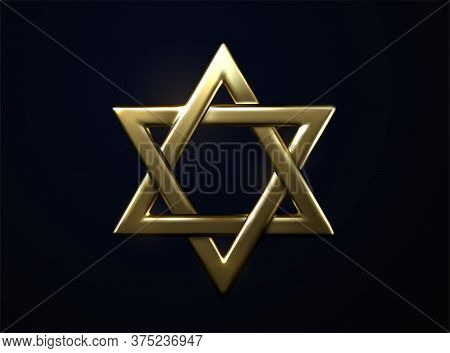 Star Of David Golden Sign. Vector 3d Illustration. Judaism Religious Symbol. Jewish Culture Sign. Me