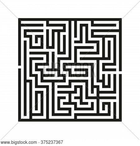 Black Square Vector Maze Isolated On White Background. Black Labyrinth With One Right Way. Vector Ma
