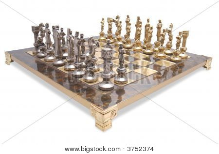Chess Set In Marble And Bronze