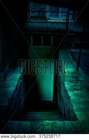 Mystical Horror Staircase And Door To A Dark Basement In An Old Decrepit Scary Abandoned House With