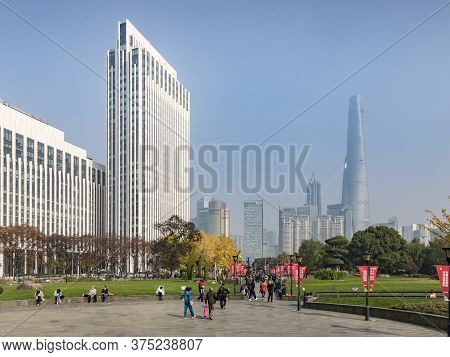29 November 2018 - Shanghai, China - Shanghai Skyline From Gucheng Park, Looking Towards The Pudong