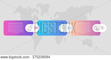 Timeline Creative Design 3D Infographics Template. Business Vector Illustration With 3 Options, Arro