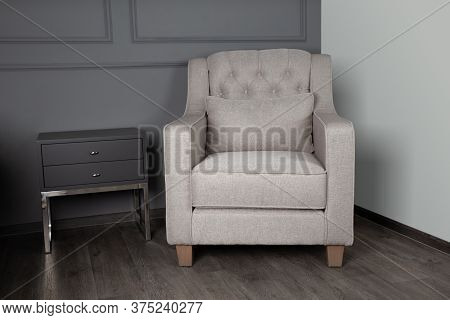 Gray Sofa And Black Table In The Living Room