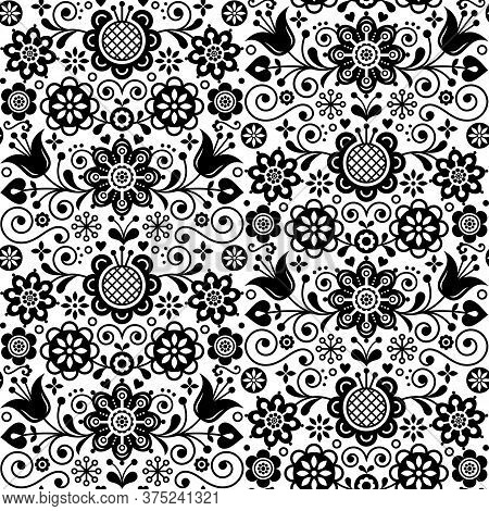 Floral Seamless Folk Art Vector Pattern, Scandinavian Black And White Repetitive Design, Nordic Orna