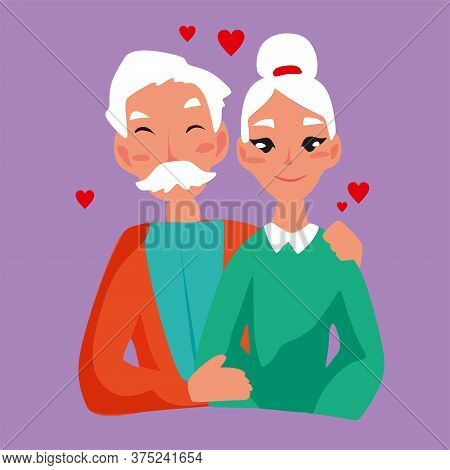 Concept Of International Day Of Grandparents Love Each Other.international Day Of Older Persons. Des