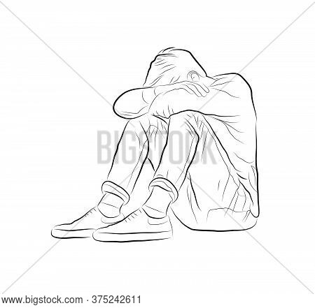 Vector Linear Illustration Of A Boy Sitting On The Floor. Figure Sitting Offended Man.