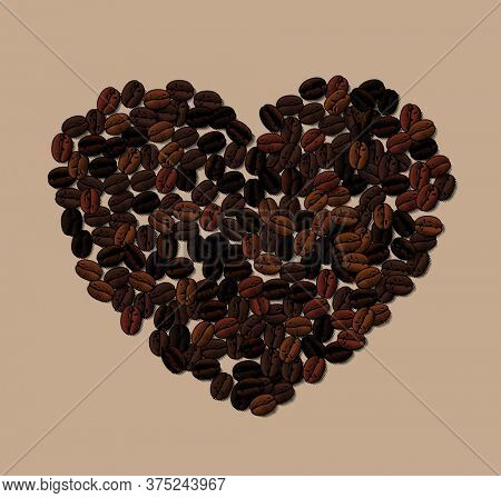 Engraved vintage color drawing of heart shaped coffee beans background