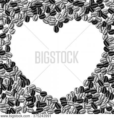 Heart shaped frame of coffee beans background. Vintage engraving black and white stylized drawing