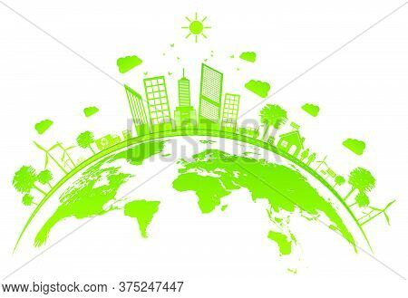 06-ecology Concept With Green City On Earth