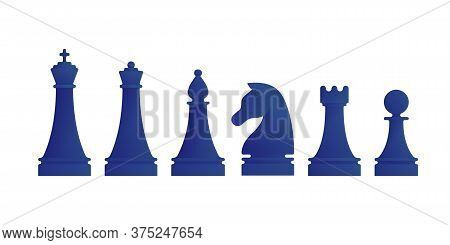 Blue Chess Pieces Icons Isolated On White Background. King, Queen, Bishop, Knight, Rook And Pawn Fig