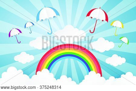 02-color Full Cloud Paper Style Art Vector Illustration