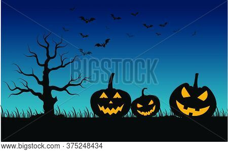 07-haunted House And Full Moon With Ghost,horror Night Background.vector Illustration.