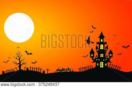 06-haunted House And Full Moon With Ghost,horror Night Background.vector Illustration.