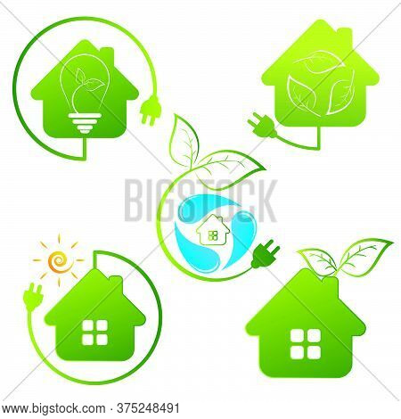 Green Home Concept Vector Sign Icon Illustration