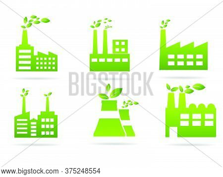 Industrial Icon Set Vector Power Station White Background