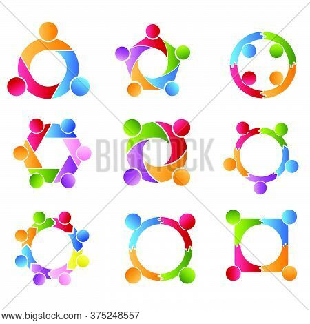 Community Set, Support Sign  People Symbol. Vector Illustration