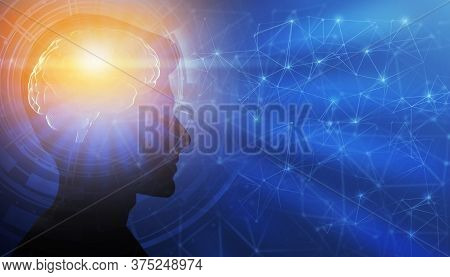 Genius Mindset. Profile Male Portrait With Illuminated Brain Having Enlightment Eureka Moment Over B