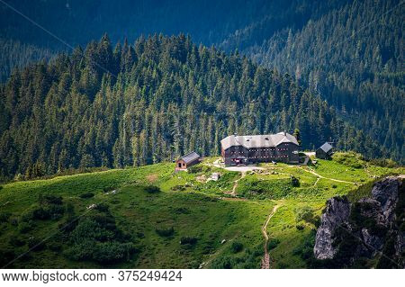 Summer Aerial Panorama View Of Hofpurglhutte - Hofpurgl Alpine Mountain House Hut With Forest And Al