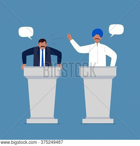 Indian Men Taking Part In Debates. Pair Of Government Workers Talking To Each Other, Discussing Prob