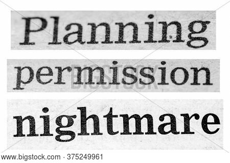 Distressed Planning Permission Text On Plain White Background