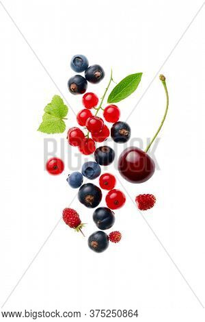 Mix berry fruits on white background, overhead view, close-up.
