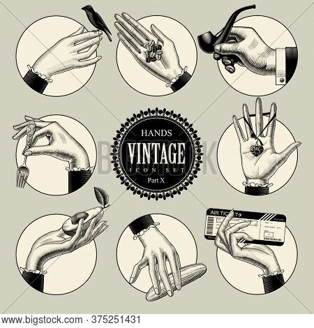 Set of round icons in vintage engraving style with hands and accessories. Retro business icons