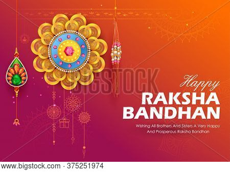 Greeting Card And Template Banner With Decorative Rakhi For Raksha Bandhan, Indian Festival For Brot