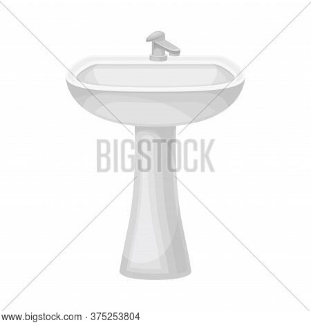 White Bathroom Sink Basin With Tap Isolated On White Background Vector Illustration