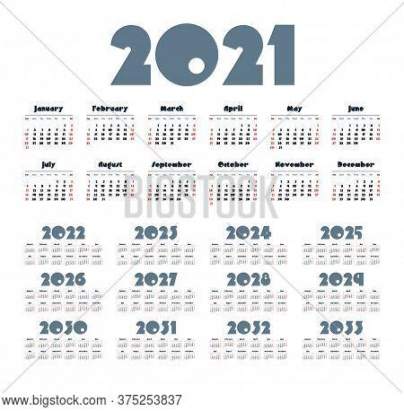 English Calendar For Years 2021-2033, Week Starts On Sunday