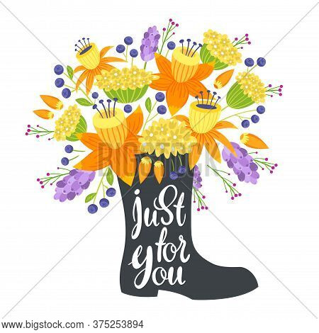 Just For You Flat Vector Postcard, Greeting Card Vector Template