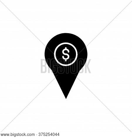 Location Pin Icon With A Dollar Logo Inside Isolated On White Background. Location Pin Icon With A D