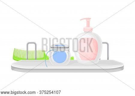 Hygienic Accessories With Soap And Dental Floss Rested On Shelf In The Bathroom Vector Illustration
