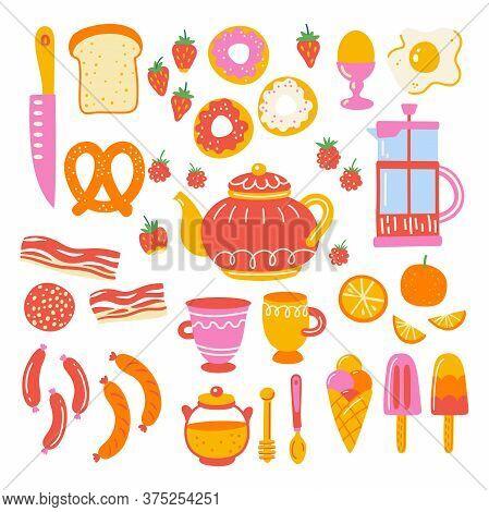 Breakfast Set With Kitchen Utensil And Appliance. Scandinavian Illustration Of Kitchen Elements In F