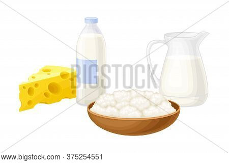 Curd In Bowl, Milk Bottle And Cheese Slab As Dairy Product Vector Illustration