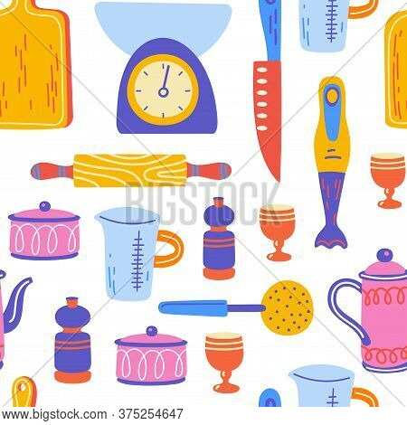 Seamless Pattern With Kitchen Utensil And Appliance. Scandinavian Illustration Of Kitchen Elements I