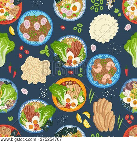 Seamless Pattern. Ramen, Udon, Noodles In Bowl On Table. Top View. Vector Illustration. Japanese Sou