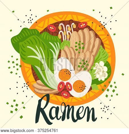 Udon In Bowl On Table. Top View. Illustration With Japanese Soup In Flat Style. Asian Food: Miso, Eg