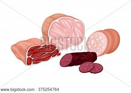 Meat Product With Beef Slab And Sausage Products Vector Illustration