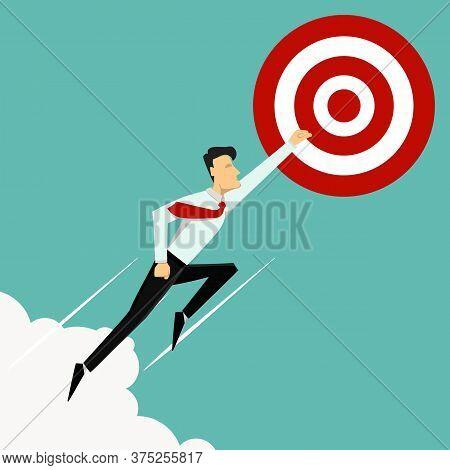 Vector Illustration. Business Success Concept. Finish Line. Super Leader And Super Businessman.
