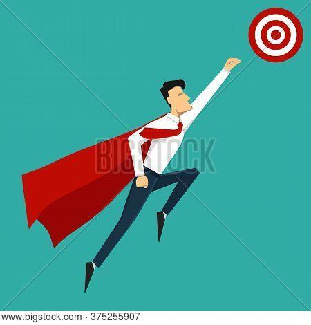 Vector Concept Illustration. Illustration Of Super Leader And Super Businessman. Super Hero.