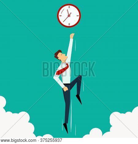 Business Success Concept. Finish Line. Super Leader And Super Businessman. Vector Illustration