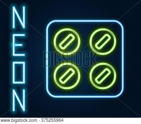 Glowing Neon Line Pills In Blister Pack Icon Isolated On Black Background. Medical Drug Package For