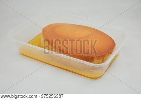 Leche Flan Filipino Delicacy Placed In Flat Tub Made In The Philippines