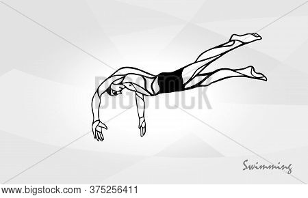 Swimmer At Starting Block Silhouette. Swimme Diving Vector
