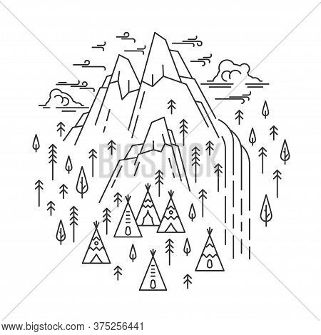 Waterfall In Mountain With Tepee Camp. Line Art Circle Banner Isolated On White Background. Emblem F